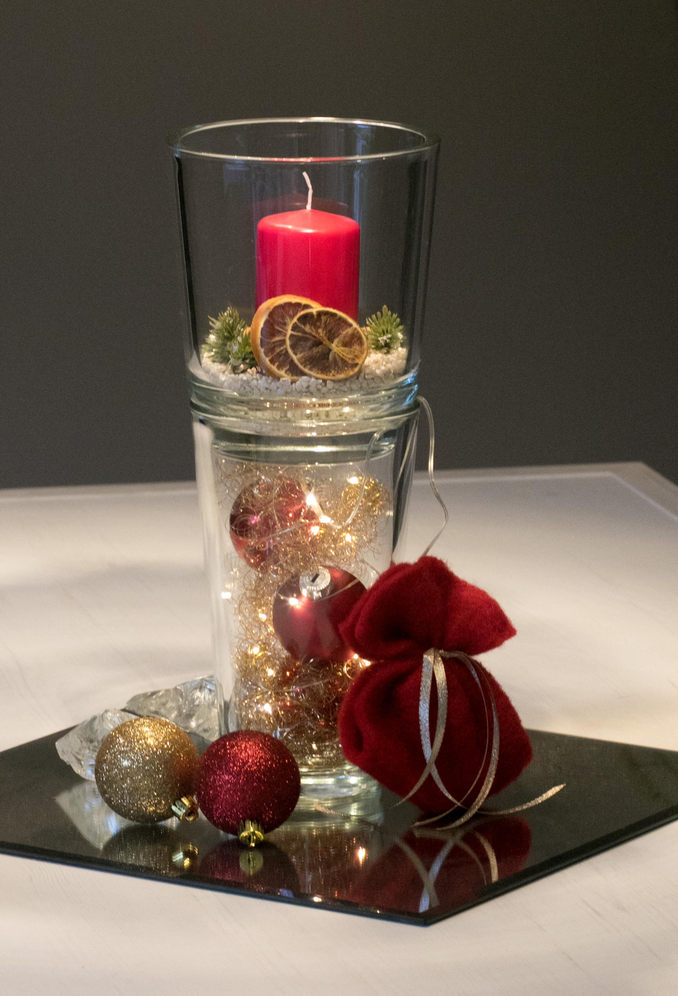Tischgesteck rot mit LED Echtwachskerze Weihnachten Weihnachtsgesteck Gesteck