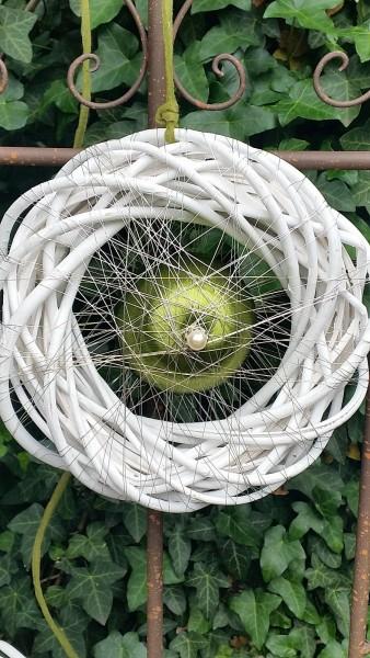 Türkranz 20 cm weiß mit grüner Kugel