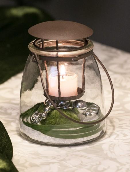 Tischdekoration Nr. 73 Glaswindlicht 16,5 cm Moospucker Windlicht
