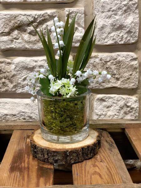 Tischgesteck Nr.18 Osterdekoration Baumscheibe mit Maiglöckchen Gesteck Frühling