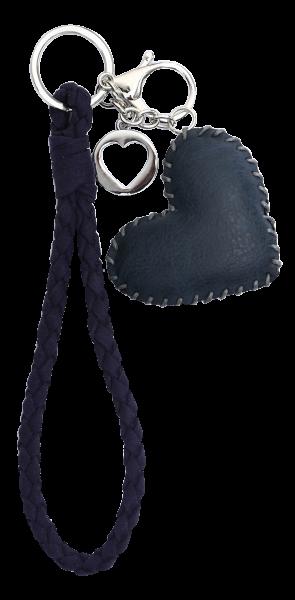 Vintage-Bag-Charm Schlüsselanhänger Herz blau