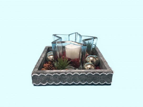Adventsgesteck Nr.2 Holztablett 14 x 14 cm mit Glasstern und Teelicht bordeaux