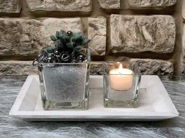 Tischgesteck Nr.55 Tablett mit Sukkulente und Teelicht