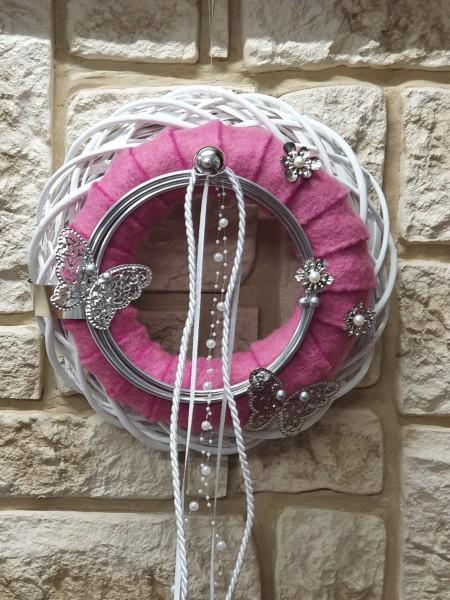Türkranz Nr.62 mit rosa Filz und weißen Bändern