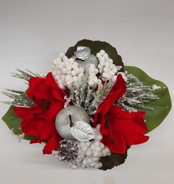 Weihnachtsstrauß Nr.27 - Blumenstrauss künstlich mit roter Amarillis und weissen Beeren
