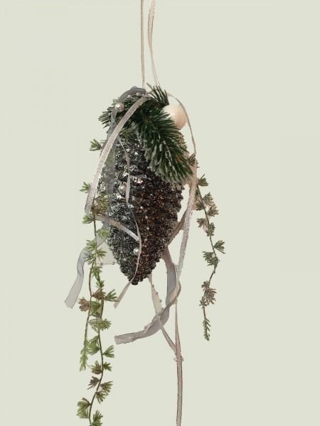 Fensterdeko Winter Nr.5  Tannenzapfen 18 cm silber/grau Tanne Hänger Weihnachten