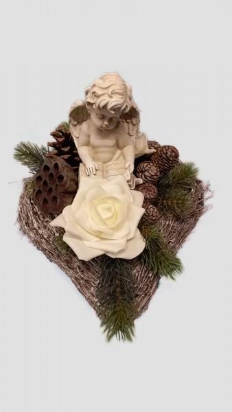 Grabgesteck Nr.2 Herz 25 x 26 cm mit Engel und Rosen