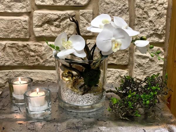 Tischgesteck Tischdeko Glasvase Mit Weisser Orchidee Und Golddraht