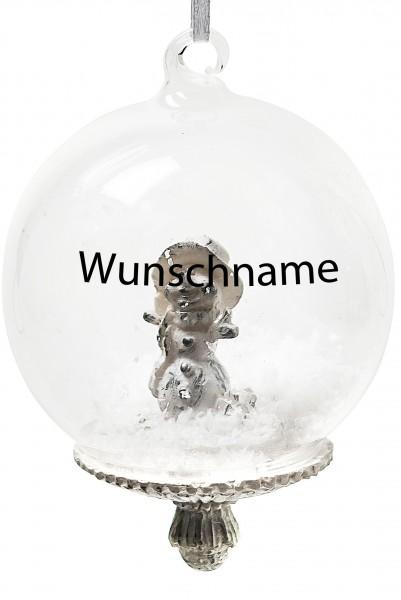 Persönliche Weihnachtskugel Schneemann- Mundgeblasene Glaskugel mit Kunstschnee - mit Beschriftung