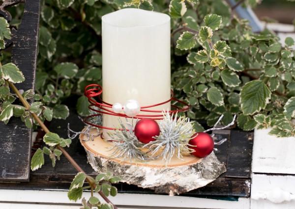 Weihnachtsdeko Led Kerzen.Adventsgesteck Nr 34 Baumscheibe Mit Led Kerze Weihnachtsdeko Wintergesteck