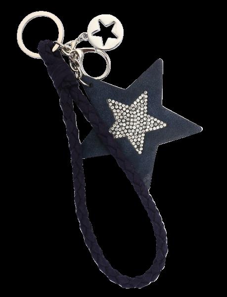 Vintage-Bag-Charm Schlüsselanhänger Stern Strass blau