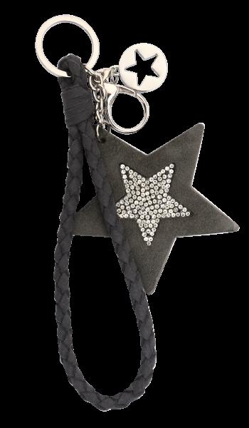 Vintage-Bag-Charm Schlüsselanhänger Stern Strass grau