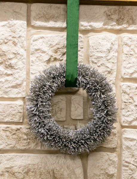 Winterkranz glam grünes Samtband silber Kranz Weihnachten Winter