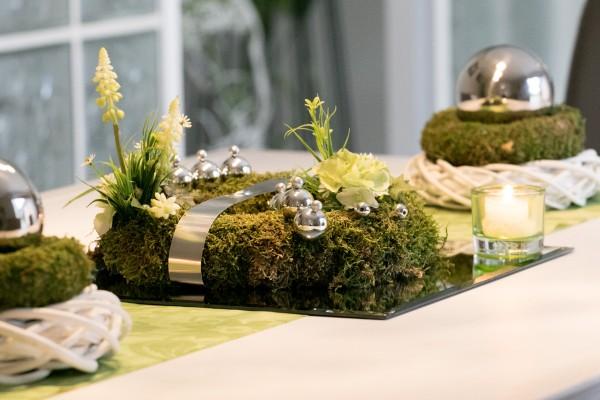 Tischschmuck Nr.90 Tischkranz, Tischgesteck, Traubenhyazinthe, Hortensie, Ostern, Frühling