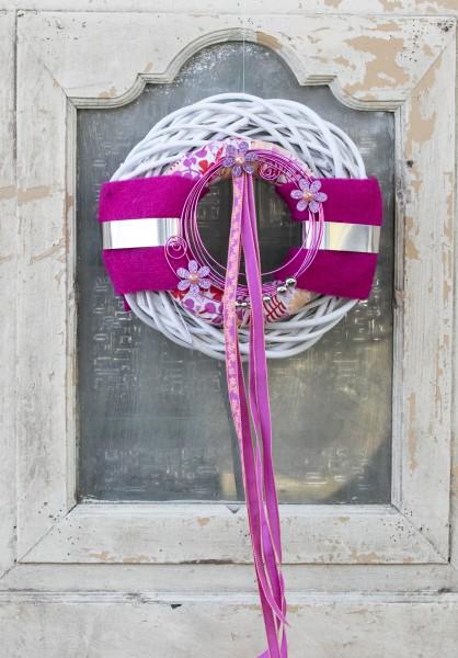 Türkranz Wandkranz Nr.52 pink Glitzerblümchen Weidenkranz