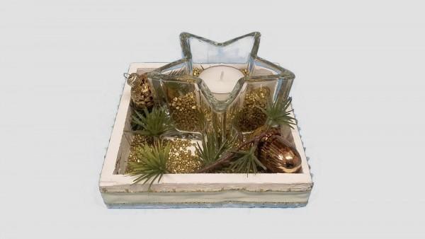 Adventsgesteck Nr.3 Holztablett weiß 14 x 14 cm mit gold und Glasstern mit Teelicht Weihnachtsgestec