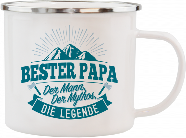 History & Heraldry Echte Kerle Becher Bester Papa Emaille Becher Kaffeebecher Kaffeepott