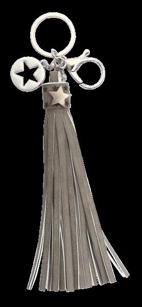 Vintage-Bag-Charm Schlüsselanhänger Goldline Quaste grau