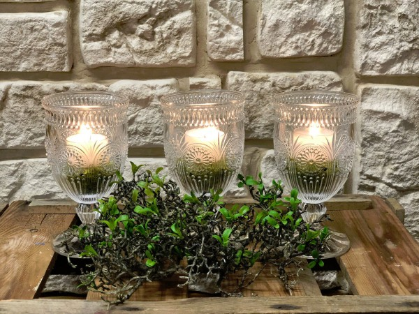 Tischdeko Nr56 Kerzenleuchter Aus Glas Weinglas Mit 8 Stunden