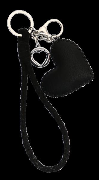 Vintage-Bag-Charm Schlüsselanhänger Herz schwarz