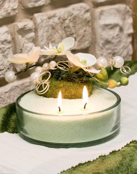 Glasschale mit Blumendekoration mit Kerzensand,Orchidee Moospucker Perlen hellgrün