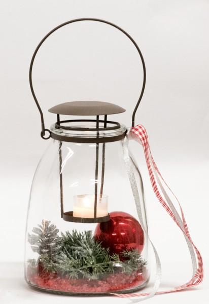 Adventsgesteck, Tischlaterne, Laterne, Glaswindlicht, Windlicht
