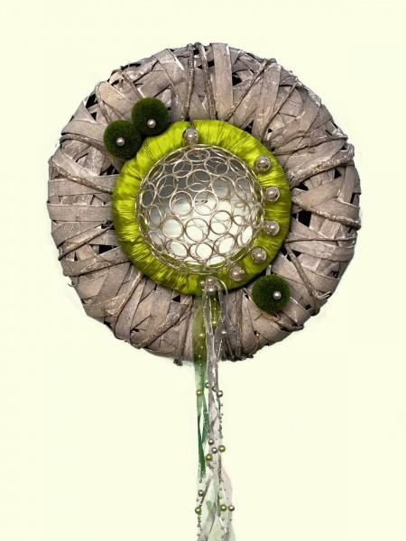 Türkranz Wandkranz Nr.30 Doppelkranz 38 cm grau apfelgrün Perlen Türdekoration